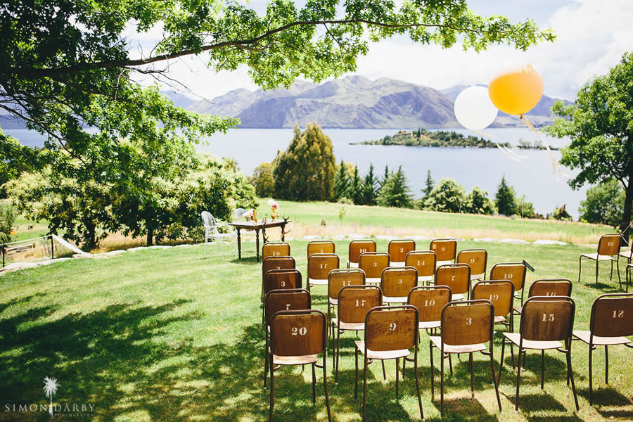 Wanaka Wedding Venue Seating with Lake view
